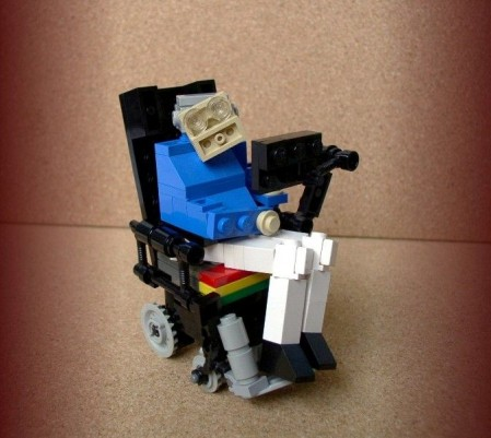 The physicist Stephen Hawking rendered using standard lego.